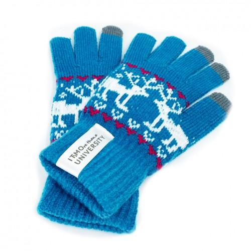 """Утепленные сенсорные перчатки """"IT's MOre than a university"""" с рисунком"""