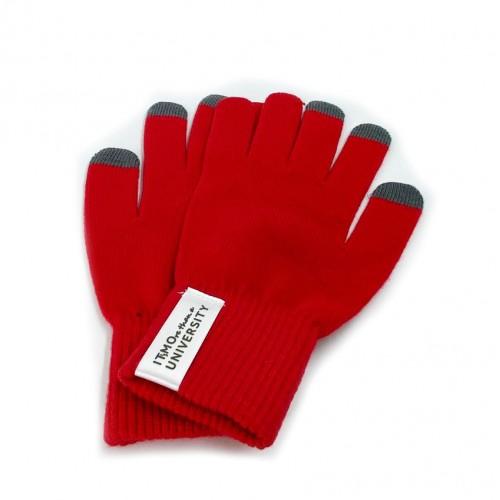 """Сенсорные перчатки """"IT's MOre than a university"""" цвет - красный"""