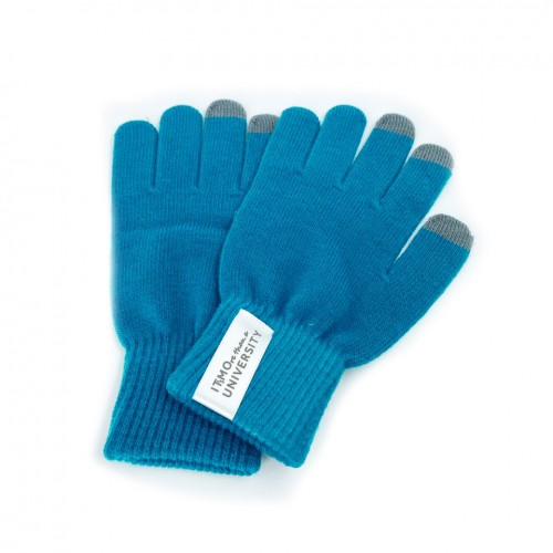 """Сенсорные перчатки """"IT's MOre than a university"""" светло-синего цвета"""